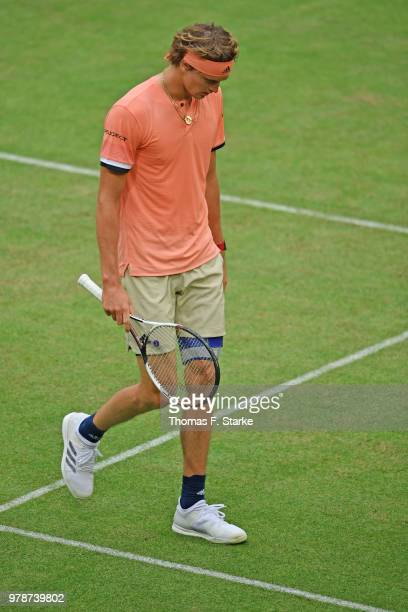 Alexander Zverev of Germany looks dejected in his match against Borna Coric of Croatia during day two of the Gerry Weber Open at Gerry Weber Stadium...