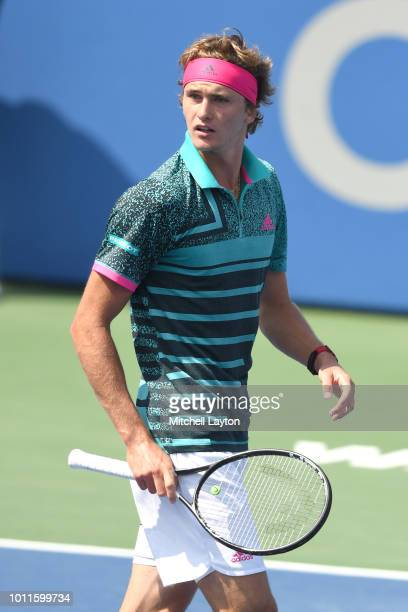 Alexander Zverev of Germany looks on during a match against Alex De Minaur of Australia during the Men's Finals on Day Nine of the Citi Open at the...