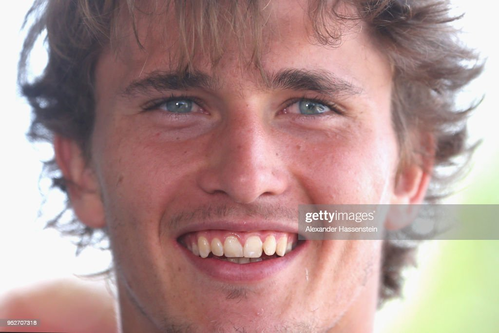 Alexander Zverev of Germany looks on during day 2 of the BMW Open at MTTC IPHITOS on April 29, 2018 in Munich, Germany.