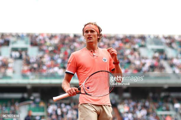 Alexander Zverev of Germany looks on during the mens singles quarter finals match against Dominic Thiem of Austria during day ten of the 2018 French...