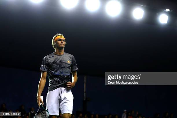 Alexander Zverev of Germany LOOKS ON in his match against Denis Shapovalov of Canada on day 4 of the Rolex Paris Masters, part of the ATP World Tour...