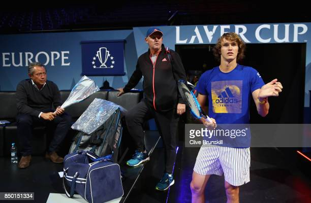 Alexander Zverev of Germany looks on inside the arena ahead of the Laver Cup on September 20 2017 in Prague Czech Republic The Laver Cup consists of...