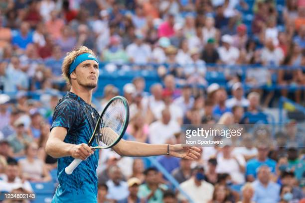 Alexander Zverev of Germany looks to the crowd to celebrate winning a game during the semifinal match on day 7 of the Western & Southern Open at the...