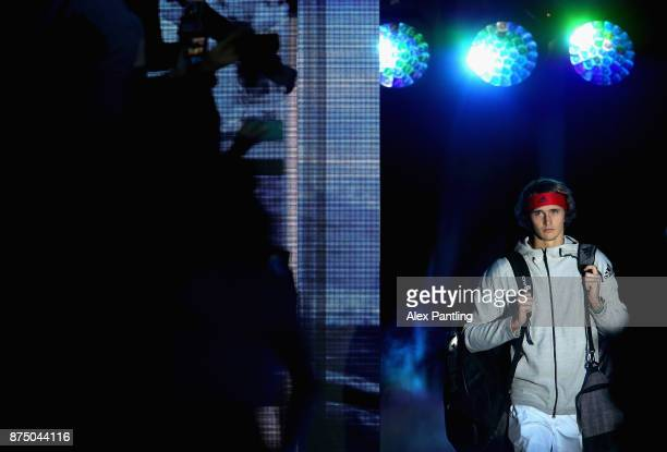 Alexander Zverev of Germany makes his way out onto court during the singles match against Jack Sock of The United States on day five of the 2017...