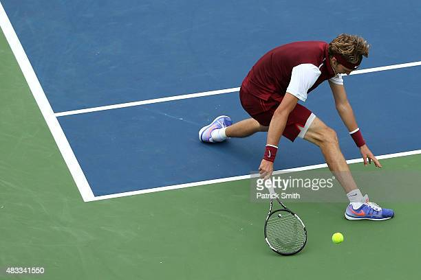 Alexander Zverev of Germany misses a shot from Marin Cilic of Croatia during the Citi Open at Rock Creek Park Tennis Center on August 7 2015 in...