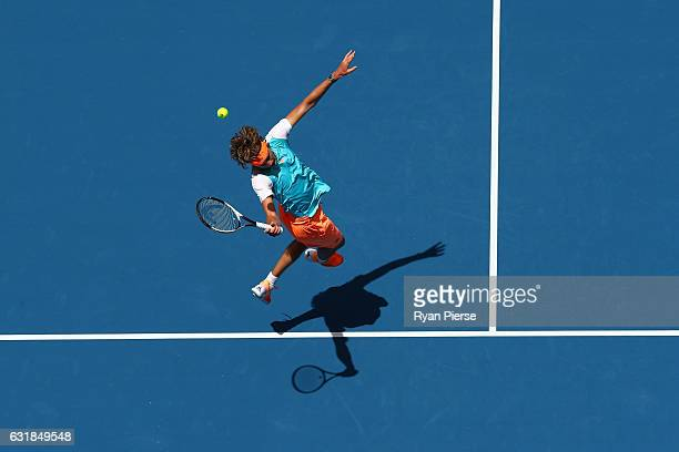 Alexander Zverev of Germany misses a shot in his first round match against Robin Haase of the Netherlands on day two of the 2017 Australian Open at...