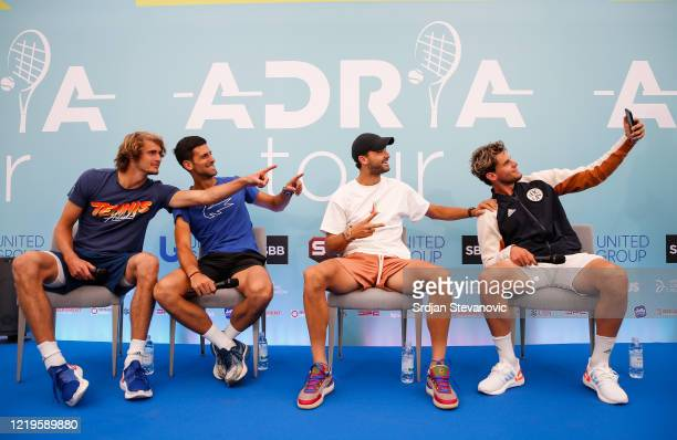 Alexander Zverev of Germany Novak Djokovic of Serbia Grigor Dimitrov of Bulgaria and Dominic Thiem of Austria during a press conference prior to the...