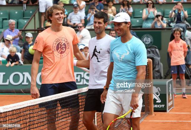 Alexander Zverev of Germany Novak Djokovic of Serbia Rafael Nadal of Spain during Kid's Day of the 2018 French Open at Roland Garros on May 26 2018...