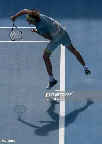 Alexander Zverev of Germany on court during his match against Hyeon Chung of South Korea on day six of the 2018 Australian Open at Melbourne Park on...