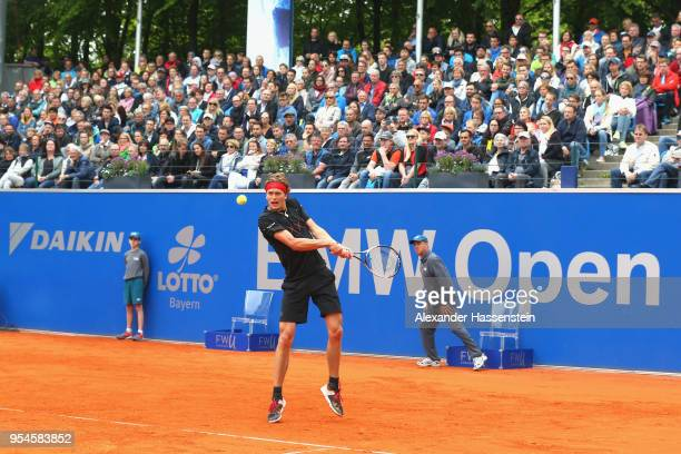 Alexander Zverev of Germany plays a back hand drung his Quaterfinale match against JanLennard Struff of Germany on day 7 of the BMW Open by FWU at...
