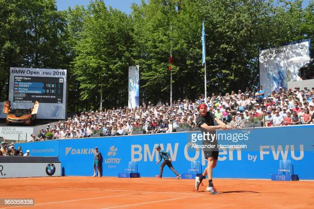 Alexander Zverev of Germany plays a back hand during his finalmatch against Philipp Kohlschreiber of Germany on day 9 of the BMW Open by FWU at MTTC...
