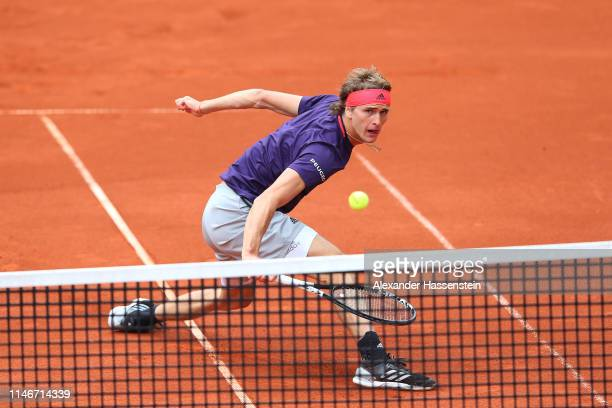 Alexander Zverev of Germany plays a back hand during his quater final match againt Cristian Garin of Chile on day 7 of the BMW Open at MTTC IPHITOS...