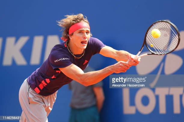 Alexander Zverev of Germany plays a back hand during his second round match against Juan Ignacio Londero of Argentina on day 5 of the BMW Open at...