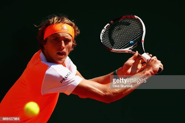 Alexander Zverev of Germany plays a backhand against Andreas Seppi of Italy in their first round match on day two of the Monte Carlo Rolex Masters at...