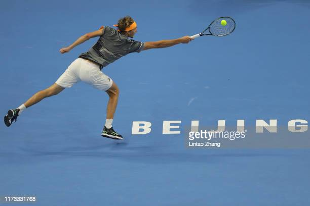 Alexander Zverev of Germany plays a backhand against Felix Auger-Aliassime of Canada during the Men's singles second round of 2019 China Open at the...