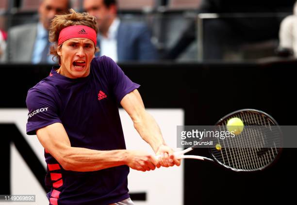 Alexander Zverev of Germany plays a backhand against Matteo Berrettini of Italy in their second round match during day three of the International BNL...