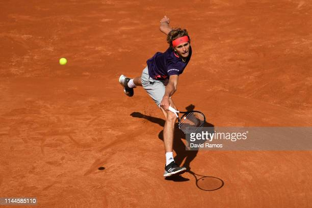 Alexander Zverev of Germany plays a backhand against Nicolas Jarry of Chile in their Men's round of 32 match during day two of the Barcelona Open...