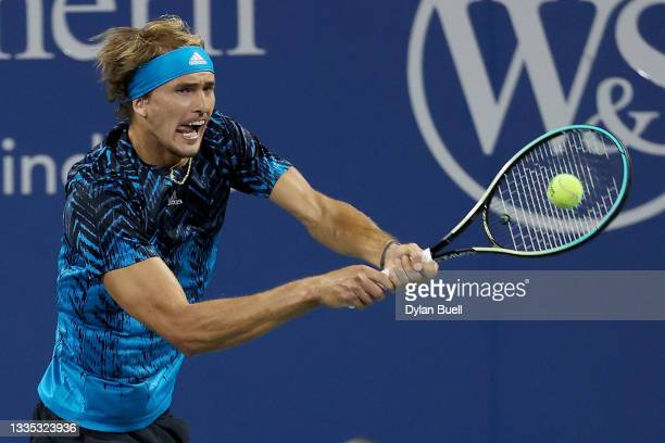 Alexander Zverev of Germany plays a backhand during his match against Casper Ruud of Norway during Western & Southern Open - Day 6 at the Lindner...