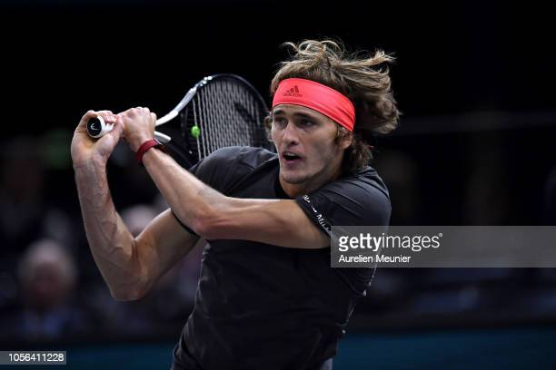 Alexander Zverev of Germany plays a backhand during his men's quarter finals match against Karen Khachanov of Russia on Day Five of the Rolex Paris...
