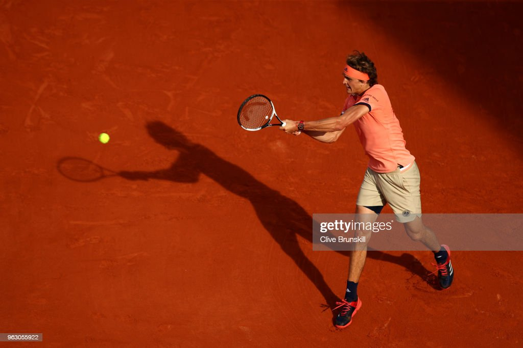 Alexander Zverev of Germany plays a backhand during his mens singles first round match against Ricardas Berankis of Lithuania during day one of the 2018 French Open at Roland Garros on May 27, 2018 in Paris, France.