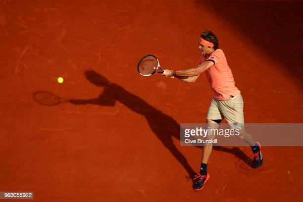 Alexander Zverev of Germany plays a backhand during his mens singles first round match against Ricardas Berankis of Lithuania during day one of the...