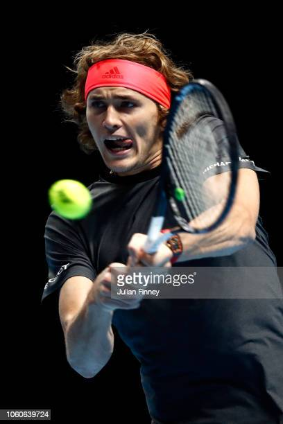 Alexander Zverev of Germany plays a backhand during his singles round robin match against Marin Cilic of Croatia during Day Two of the Nitto ATP...