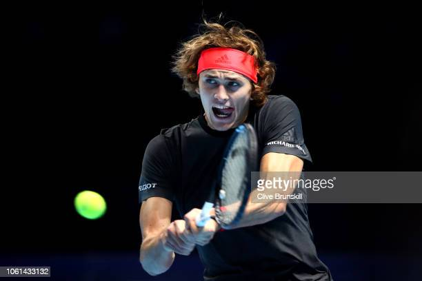 Alexander Zverev of Germany plays a backhand during his singles round robin match against Novak Djokovic of Serbia during Day Four of the Nitto ATP...