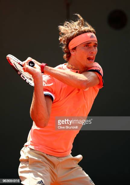 Alexander Zverev of Germany plays a backhand during the mens singles second round match against Dusan Lajovic of Serbia during day four of the 2018...