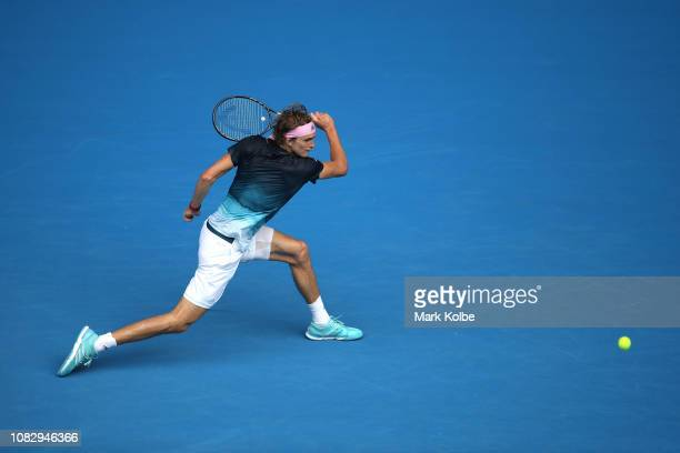 Alexander Zverev of Germany plays a backhand in his first round match against Aljaz Bedene of Slovenia during day two of the 2019 Australian Open at...