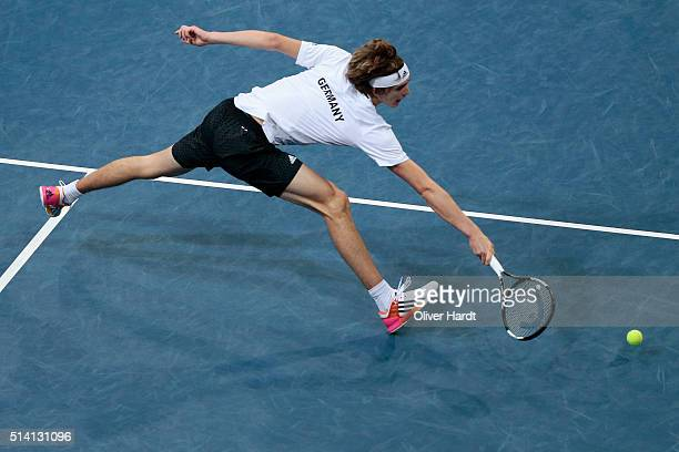Alexander Zverev of Germany plays a backhand in his match against Lukas Rosol of Czech Republic during Day 3 of the Davis Cup World Group first round...