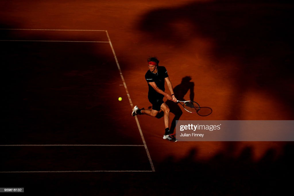 Alexander Zverev of Germany plays a backhand in his match against Kyle Edmund of Great Britain during day five of the Internazionali BNL d'Italia 2018 tennis at Foro Italico on May 17, 2018 in Rome, Italy.