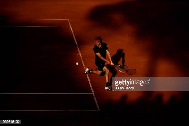 Alexander Zverev of Germany plays a backhand in his match against Kyle Edmund of Great Britain during day five of the Internazionali BNL d'Italia...