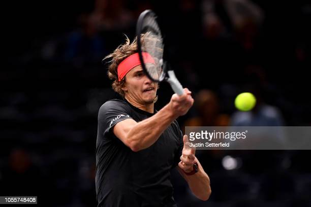 Alexander Zverev of Germany plays a backhand in his second round match against Frances Tiafoe of the United States during Day 3 of the Rolex Paris...