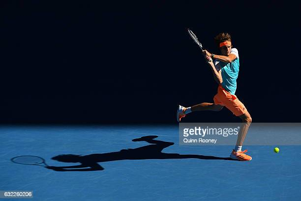Alexander Zverev of Germany plays a backhand in his third round match against Rafael Nadal of Spain on day six of the 2017 Australian Open at...