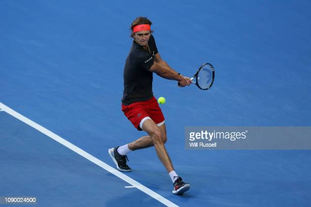Alexander Zverev of Germany plays a backhand to Roger Federer of Switzerland during day two of the 2019 Hopman Cup at RAC Arena on December 30 2018...