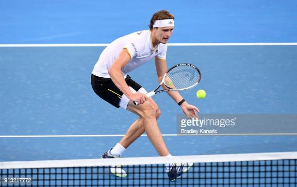 Alexander Zverev of Germany plays a backhand volley against Alex de Minaur of Australia during the Davis Cup World Group First Round tie between...