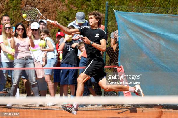 Alexander Zverev of Germany plays a fore hand during a practice session on day 1 of the BMW Open by FWU at MTTC IPHITOS on April 28 2018 in Munich...
