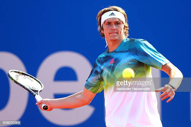 Alexander Zverev of Germany plays a fore hand during his quater final match against David Goffin of Belgium of the BMW Open at Iphitos tennis club on...