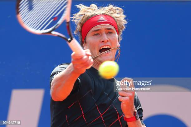 Alexander Zverev of Germany plays a fore hand during the semifinal match against Hyeon Chung of Korea on day 8 of the BMW Open by FWU at MTTC IPHITOS...