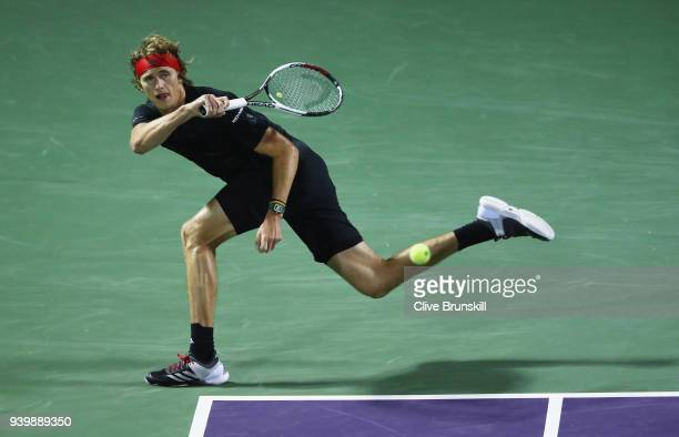 Alexander Zverev of Germany plays a forehand against Borna Coric of Croatia in their quarterfinal match during the Miami Open Presented by Itau at...