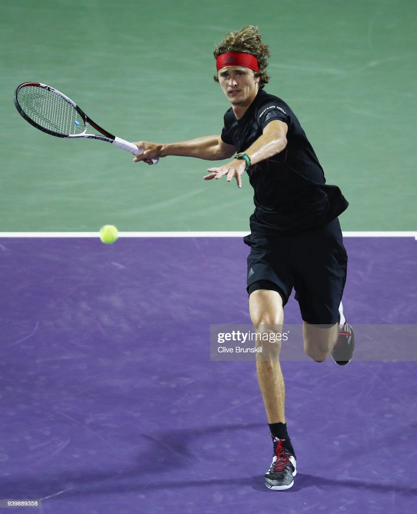 Alexander Zverev of Germany plays a forehand against Borna Coric of Croatia in their quarterfinal match during the Miami Open Presented by Itau at Crandon Park Tennis Center on March 29, 2018 in Key Biscayne, Florida.