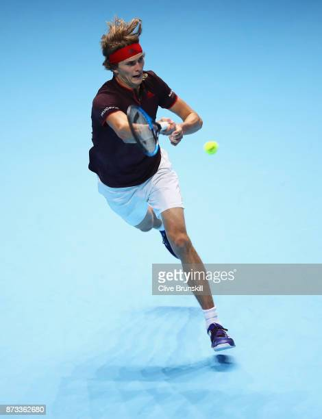 Alexander Zverev of Germany plays a forehand against Marin Cilic of Croatia during the Nitto ATP World Tour Finals at O2 Arena on November 12 2017 in...