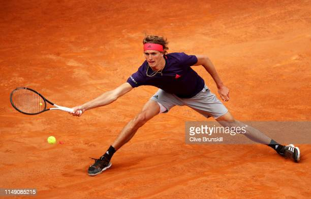 Alexander Zverev of Germany plays a forehand against Matteo Berrettini of Italy in their second round match during day three of the International BNL...