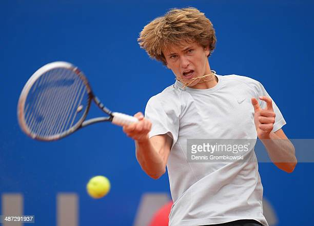 Alexander Zverev of Germany plays a forehand during his match against Jurgen Melzer of Austria during the BMW Open on April 29 2014 in Munich Germany