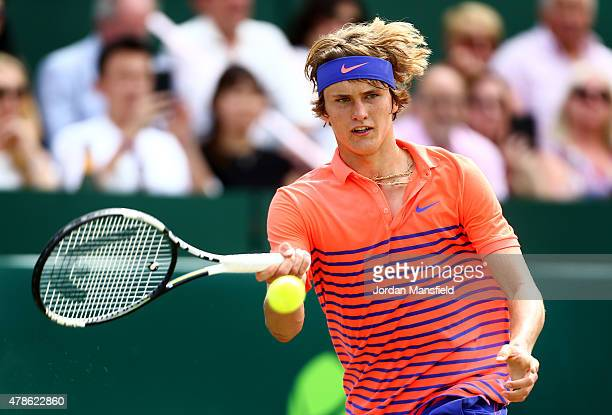 Alexander Zverev of Germany plays a forehand during his match againstNovak Djokovic of Serbia during Day 4 of The Boodles Tennis Event at Stoke Park...
