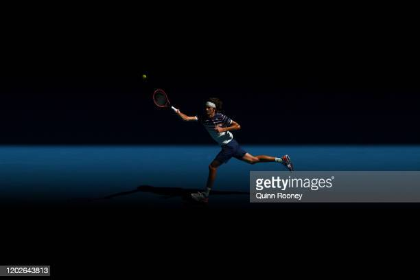 Alexander Zverev of Germany plays a forehand during his Men's Singles Quarterfinal match against Stan Wawrinka of Switzerland on day ten of the 2020...