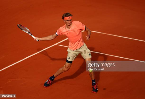 Alexander Zverev of Germany plays a forehand during his mens singles first round match against Ricardas Berankis of Lithuania during day one of the...
