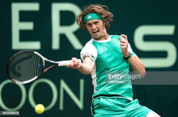 Alexander Zverev of Germany plays a forehand during his semifinal match against Richard Gasquet of France during Day 8 of the Gerry Weber Open 2017...