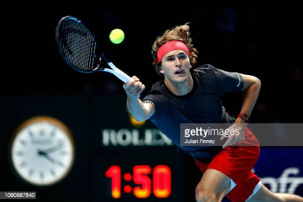 Alexander Zverev of Germany plays a forehand during his singles round robin match against Marin Cilic of Croatia during Day Two of the Nitto ATP...