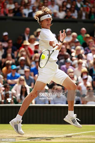 Alexander Zverev of Germany plays a forehand during the Men's Singles third round match against Tomas Berdych of The Czech republic on Middle Sunday...